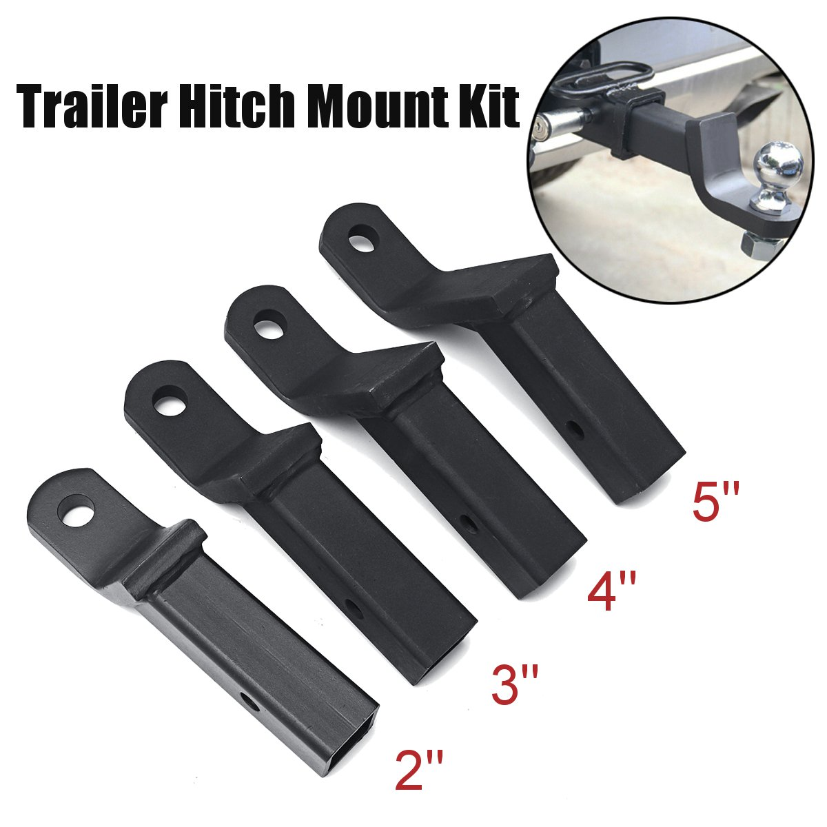 Steel Truck Trailer Hook Folding Trailer Hitch Mount Shank Adapter Cargo Wheelchair Carrier 2