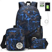 3pcs/set USB Male backpacks high school bags for women 2019 boys one shoulder big student travel bag men school backpack mochila fengdong men usb port backpack waterproof male chest bag set college bags one shoulder travel backpack high school bags for boys