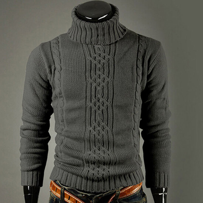 Men's Knitted Lapel Long Sleeve Turtleneck Turtleneck Shirt Solid Color Regular Sweater Men's Winter Turtleneck