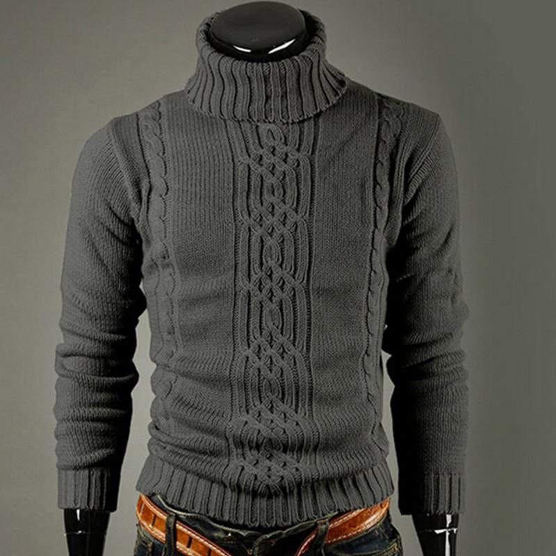 Men's Knitted Lapel Long Sleeve Turtleneck Turtleneck Shirt Solid Color Regular Sweater Men's Winter Turtleneck