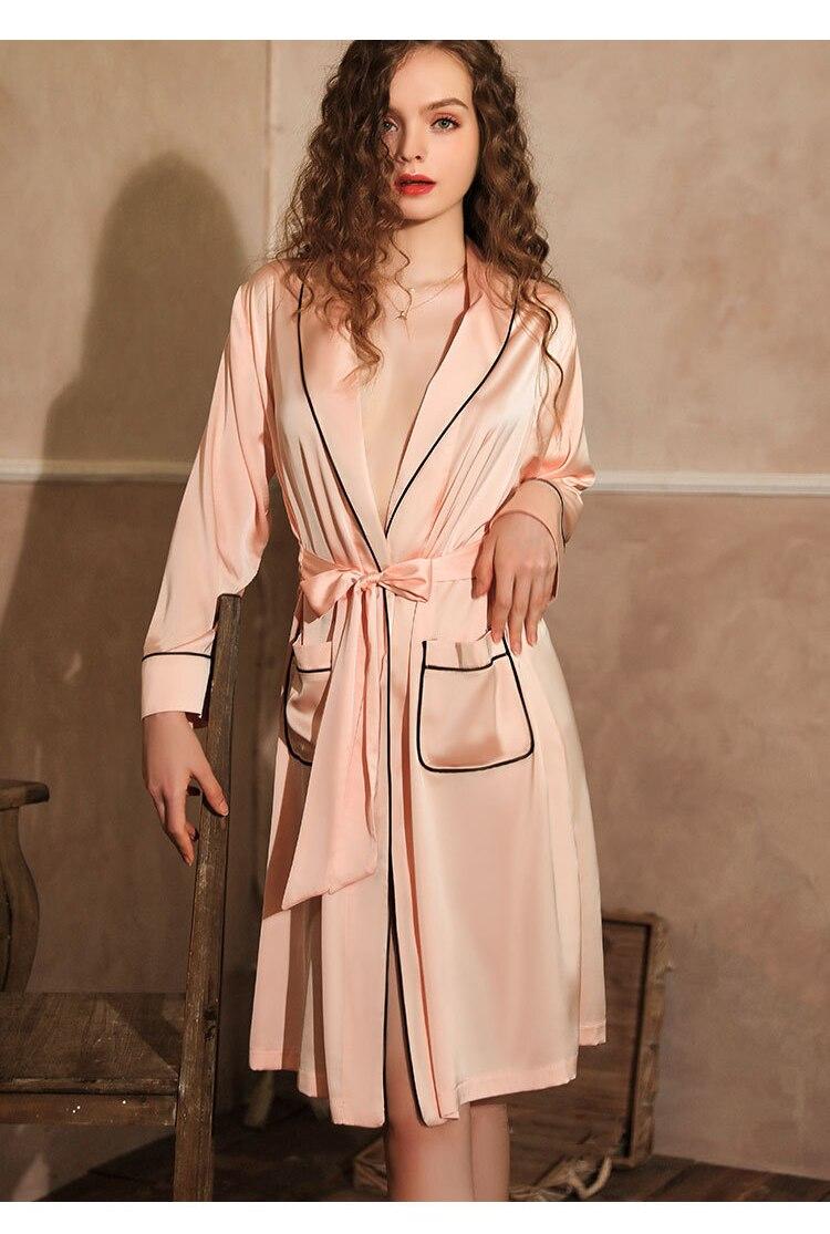 CINOON Satin Robe Female Intimate Lingerie Sleepwear Silky Bridal Wedding Gift Kimono Bathrobe Gown Nightgown Sexy Nightwear (16)