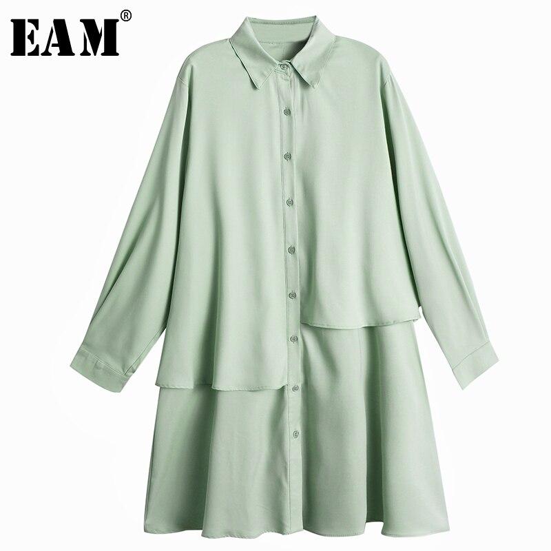 [EAM] Women Green Double Layer Split Big Size Shirt Dress New Lapel Long Sleeve Loose Fit Fashion Tide Spring Autumn 2020 1Z221