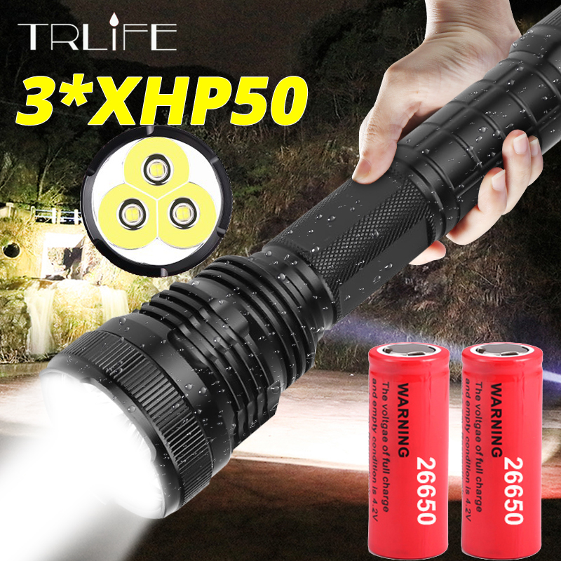 3*XHP50 Most Powerful LED Flashlight Waterproof XHP70.2 Linterna LED Torch Use 18650 Or 26650 Rechargerable Battery Best Camping
