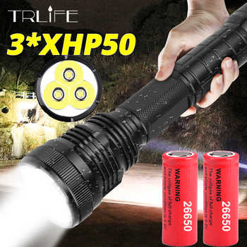 3*XHP50 most powerful LED Flashlight Waterproof XHP70.2 Linterna LED Torch Use 18650 or 26650 Rechargerable Battery Best Camping - DISCOUNT ITEM  50% OFF All Category