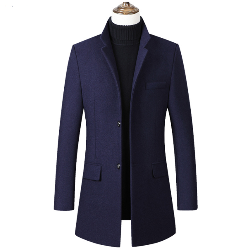 Men's Long Woolen Coats Jackets Black Casual Thick Casaco Clothing Sobretudo Abrigos Jaqueta Masculina Slim Fit Erkek Kaban