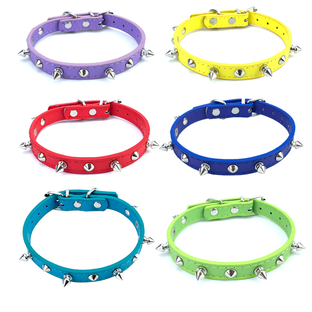 Adjustable Leather Spiked Dog Collar 2