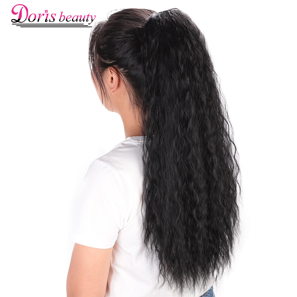 Doris Beauty 22 Inch Long Afro Kinky Curly Ponytail Extension Synthetic Drawstring Corn Wavy Hair Piece For Women Black Brown
