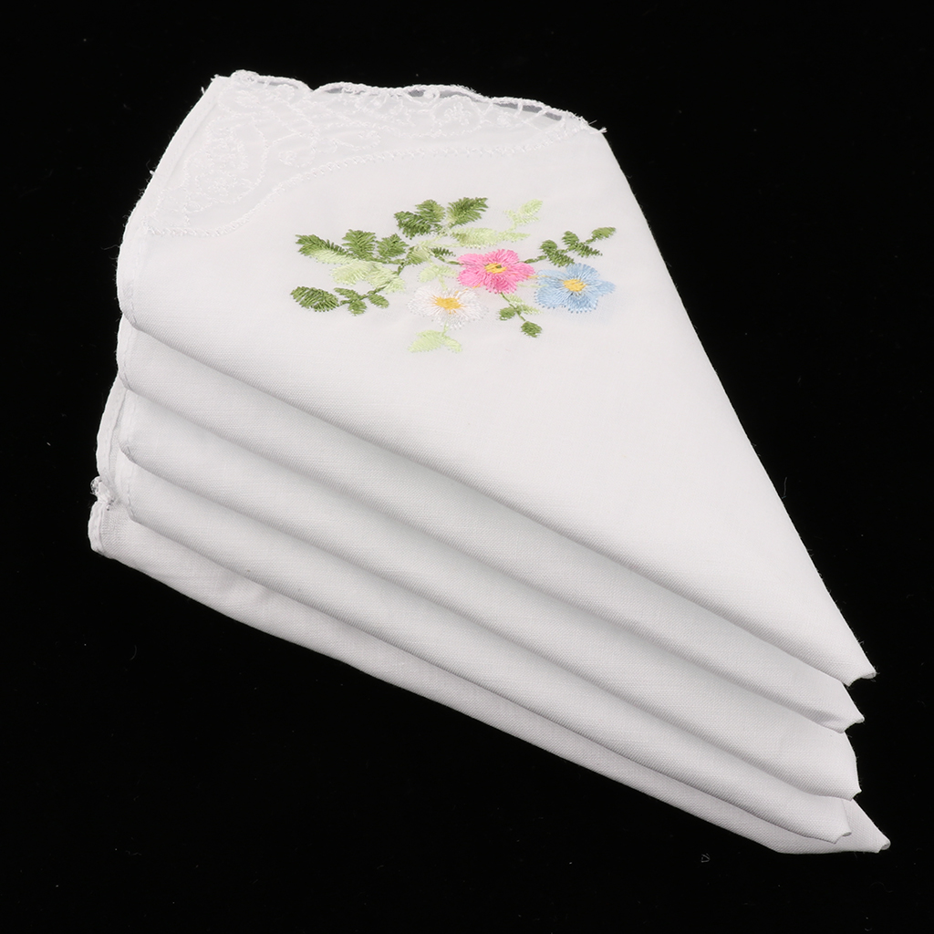5pcs Women Ladies 60S Cotton Handkerchiefs Square Floral Embroidered with Lace Butterfly Edge Party Dining Table hanky