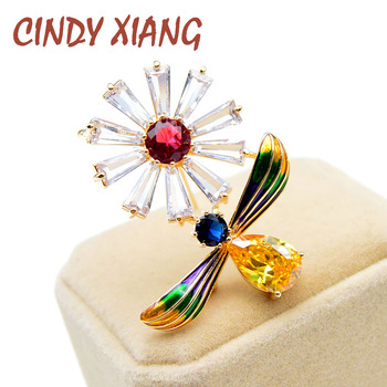 CINDY XIANG Beautiful Cubic Zirconia Honey Bee And Flower Brooches For Women Insect Pin Luxury Fashion Jewelry Enamel Pin Badage cindy xiang colorful cubic zirconia daisy brooches for women sunflower brooch pin copper jewelry zircon corsage high quality