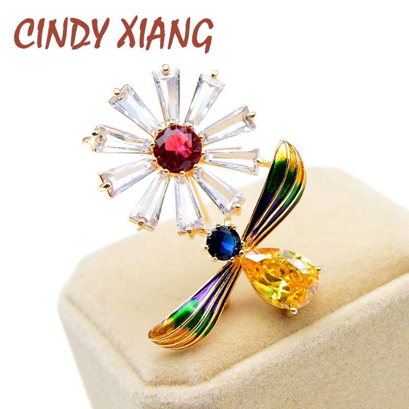Женская эмалированная брошка CINDY XIANG, красивая брошка с фианитом в виде медовой пчелы и цветов|Броши|   | АлиЭкспресс