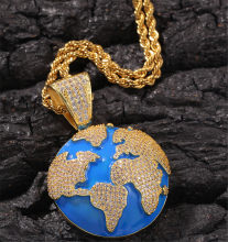 Hip Hop Hip-hop Drip Oil-set Zircon Blue Earth Globe Pendant Necklace Simple Tide Brand Men's Necklace(China)