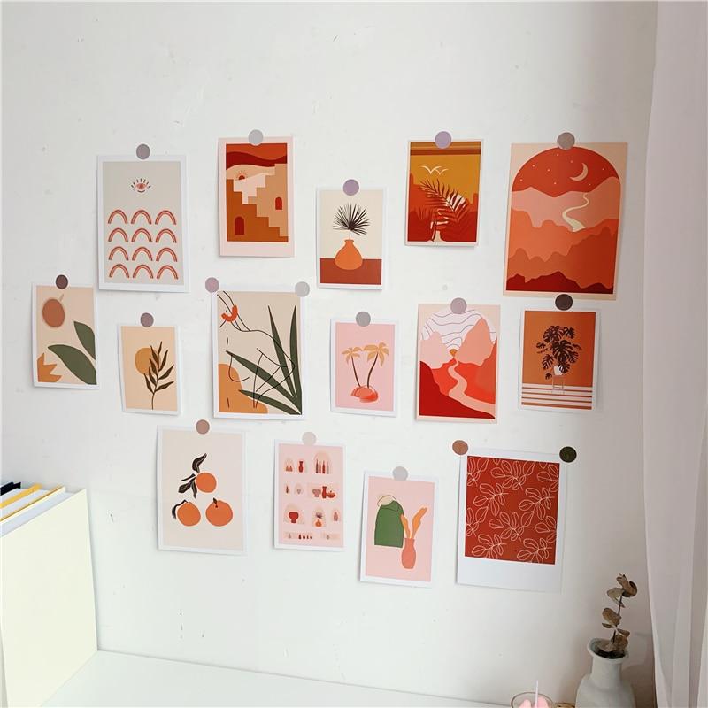 15 Sheets Ins Art Botany Dusk Series Postcard Photo Props Diy Creative Decorative Card Bedroom Wall Sticker Poster Greeting Card