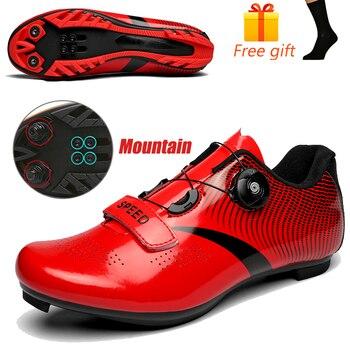 Carbon Fiber Men Cycling Shoe Breathable Triathlon Mountain Bike Shoes Man Sport Road Racing Snaeker Spin Buckle 18