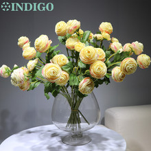 цена на 15pcs/lot Champagne Tea Rose Spray Decorative Rose Bouquet Artificial Flower Party Event Peony Fabric Flower Free Shipping