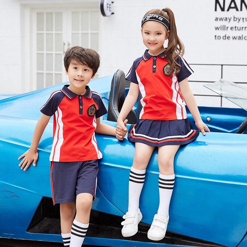 Customizable Kindergarten Suit Summer Set Young STUDENT'S School Uniform British-Style Two-Piece Set 6 Grade School Uniform Busi