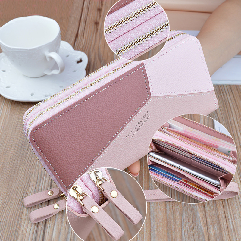 2019 New Double Zipper Clutch Long Wallet Geometric Women Patchwork Panelled Large Capacity Phone Case Coin Purse Card Package