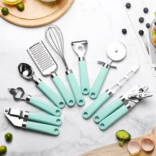 9PCS Kitchen Gadgets Set Fruit Vegetable Peelers Graters Can Opener Cheese Knife Pizza Cutters Egg Beaters Peeling Garlic Tools