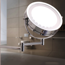LED bathroom mirror Dual Arm Extend 2-Face Makeup mirror Equipped metal round Wall mirror bath mirror led cosmetic mirror 1x 3x magnification wall mounted adjustable makeup mirror dual arm extend 2 face bathroom mirror