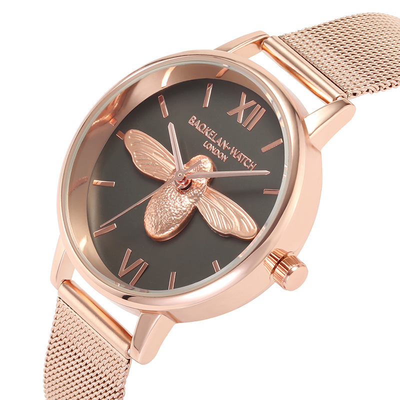 Watch Women Little Bee Stainless Steel  Band Analog Quartz Wristwatch Fashion Ladies Golden Rose Gold Watch Clock Reloj Mujer