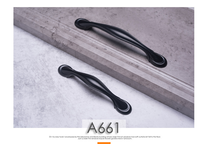 H48a35e0ce5b342958fc05dc5ee6ddcd4n - American Modern Style Black Cabinet Handles Solid Aluminum Alloy Kitchen Cupboard Pulls Drawer Knobs Furniture Handle Hardware