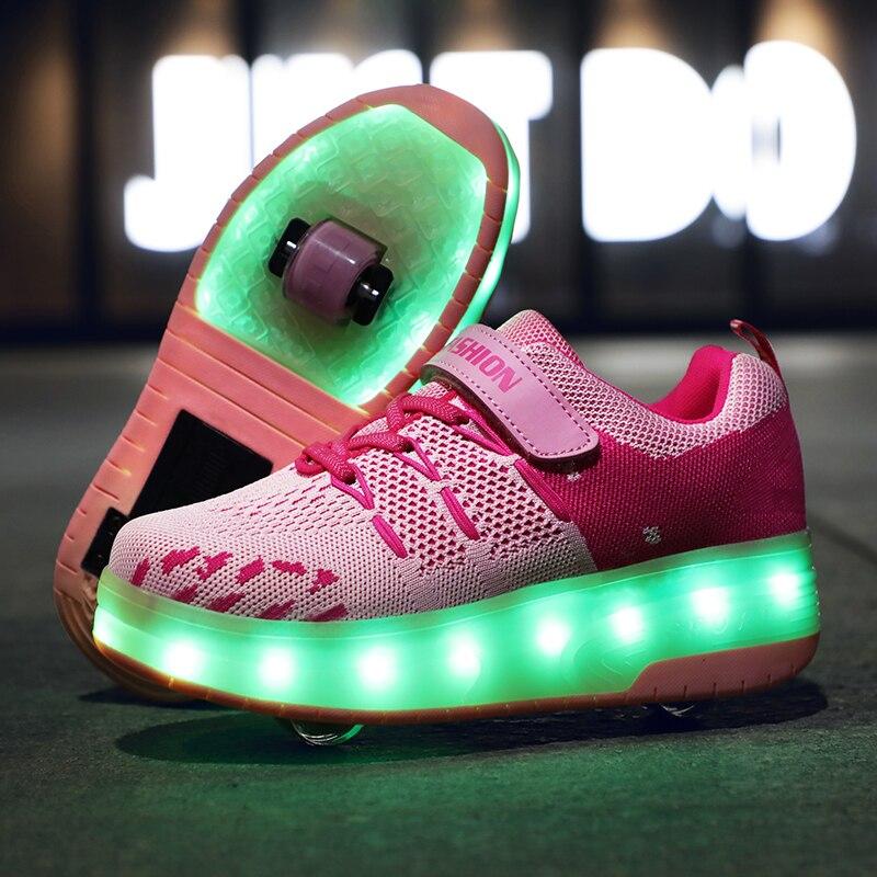 Розовые кроссовки 28 40 с двумя колесами, зарядка от usb, светящийся светодиодный светильник, обувь на колесиках для катания на роликах для маль