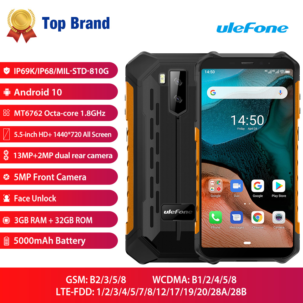 Android 10 4G LTE móvil teléfono Ulefone armadura X5 Smartphone MT6762 Octa Core Ip68 resistente impermeable teléfono móvil 3GB 32GB NFC Ulefone Nota 7P Smartphone Android 9,0 Quad Core 3500mAh 6,1 pulgadas de agua pantalla 3GB + 32GB teléfono móvil