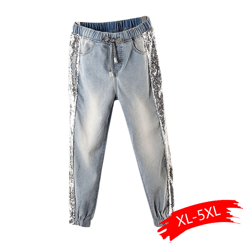 Largesize 5xl Patchwork Sequined Jeans Women Washed Denim Trouser Jeans Female Elastic Waist Cargo Pants Side Striped Jeans