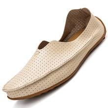 Homens mocassins sapatos de couro masculino leve tênis respirável deslizamento-on condução sapatos casuais calçados masculinos plus size 47
