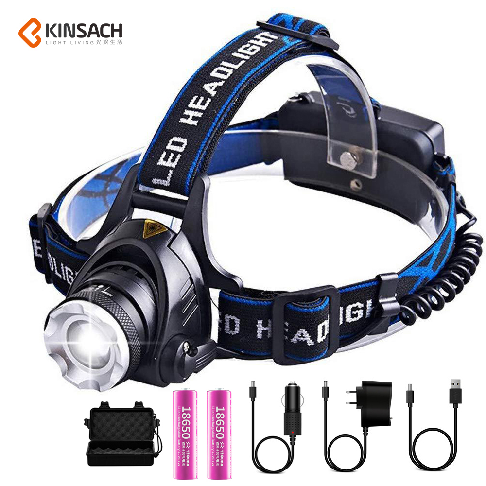 LED Headlight XML-T6 Zoom Led Headlamp Torch Flashlight Head lamp use 2*18650 battery for Camping Bicycle light get gift