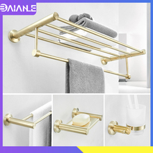 Bathroom Towel Holder Stainless Steel Towel Bar Sets Brushed Gold Towel Rack Robe Hook Soap Dish Toilet Paper Holder with Shelf