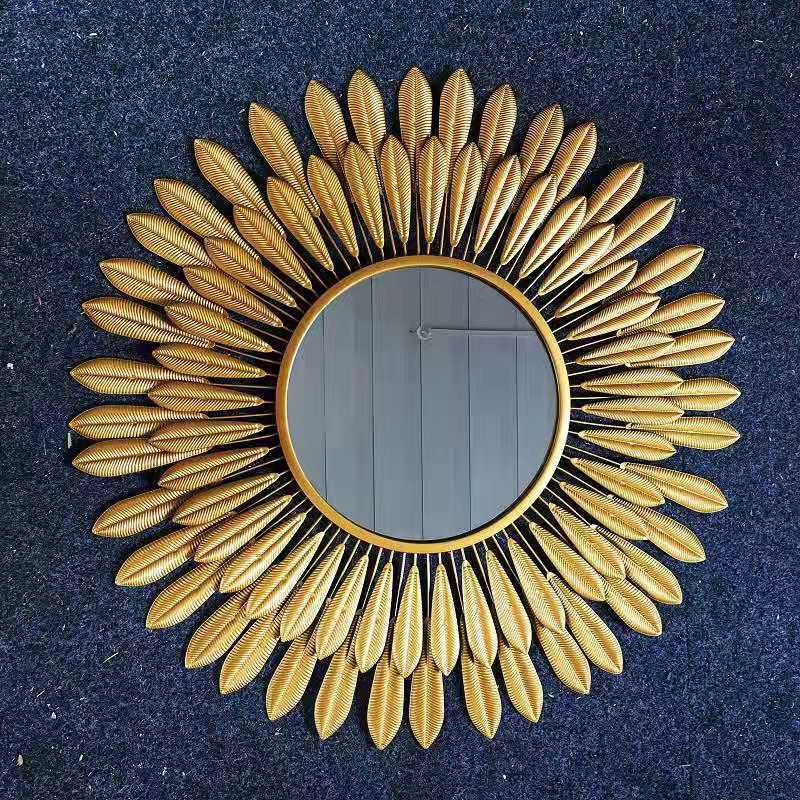 Metal Wrought Iron Sunflower Mirror Bathroom Vanity Mirror Clothing Store Bedroom Dressing Mirror Bathroom Wall Hanging Mirror|Decorative Mirrors|   - AliExpress