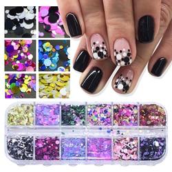 1 Набор, ультратонкие Блестки для дизайна ногтей, Мини блестки, цветные круглые 3d украшения для ногтей, смешанные размеры, маникюрные аксесс...