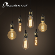 DINGDIAN LED E27 ST64 T45 G80 Vintage Incandescent Light Bulb 220V 40W Tea Glass Warm White Classic Squirrel Cage Filament Lamp tanbaby 3w st64 led filament bulb e27 warm white edison light bulbs 3000k squirrel cage vintage style replace incandescent lamp