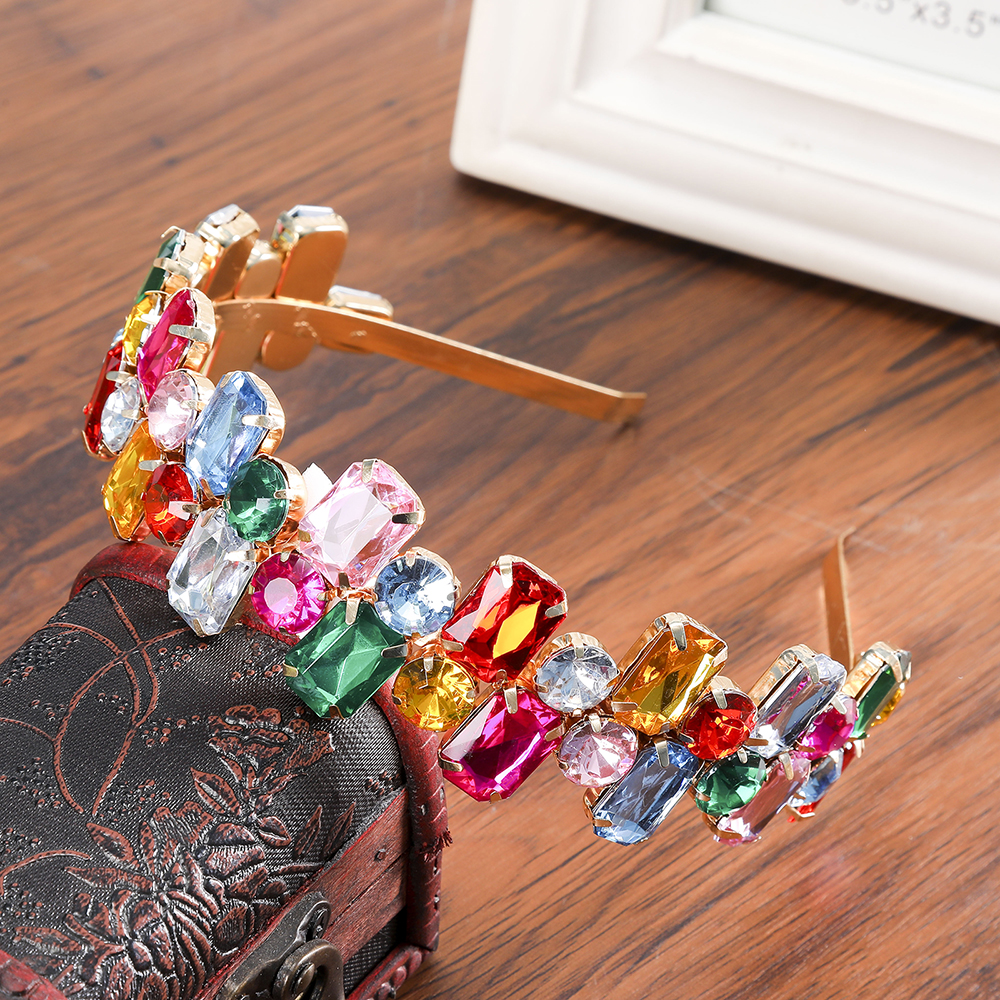 Baroque Sparkly Rhinestone Jewel Hair Bands Headband For Women Wedding Bride Flower Crystal Hairband Hoop Bezel Hair Accessories