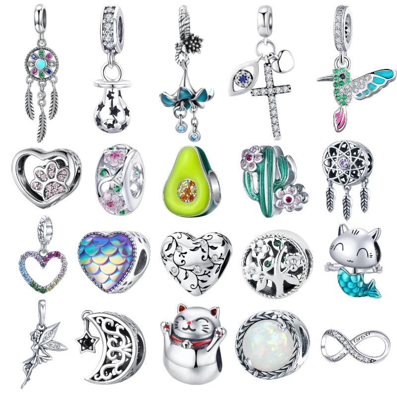BISAER Hot Sale 925 Sterling Silver Heart Star Princess Crown Bowknot Dream Catcher Charms Beads fit Silver 925 Jewelry Making Beads  - AliExpress