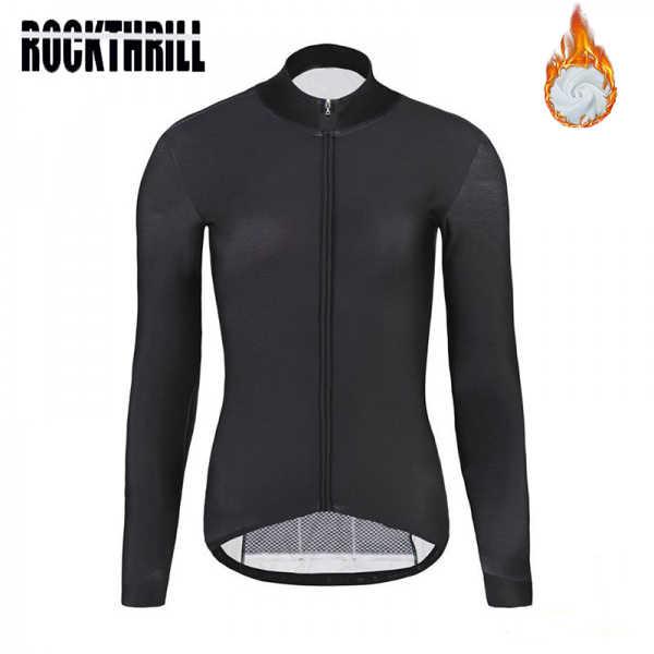 Panno Morbido di inverno Termico Ciclismo Jersey donne Nero Pro team Manica lunga MTB Abbigliamento Bicicletta Ropa Ciclismo Maillot Bike Shirt top