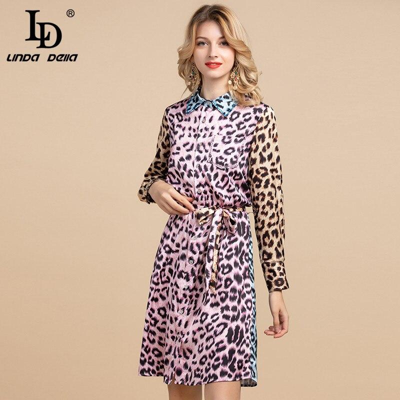 LD LINDA DELLA Spring Summer Fashion Designer Shirt Dress Women's Long Sleeve Vintage Leopard Print Elegant Loose Belted Dress