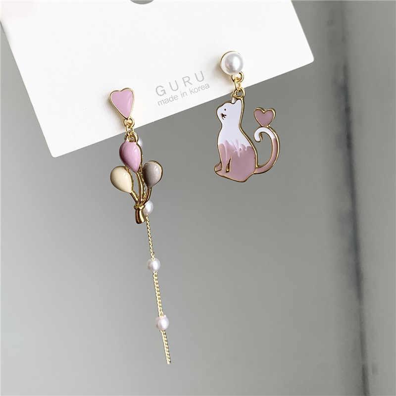 Japanes Korean Cute Cat Love Balloon Earrings for Women 925 Sterling Silver Asymmetry Pearl Stud Earring& Ear Clip Jewelry
