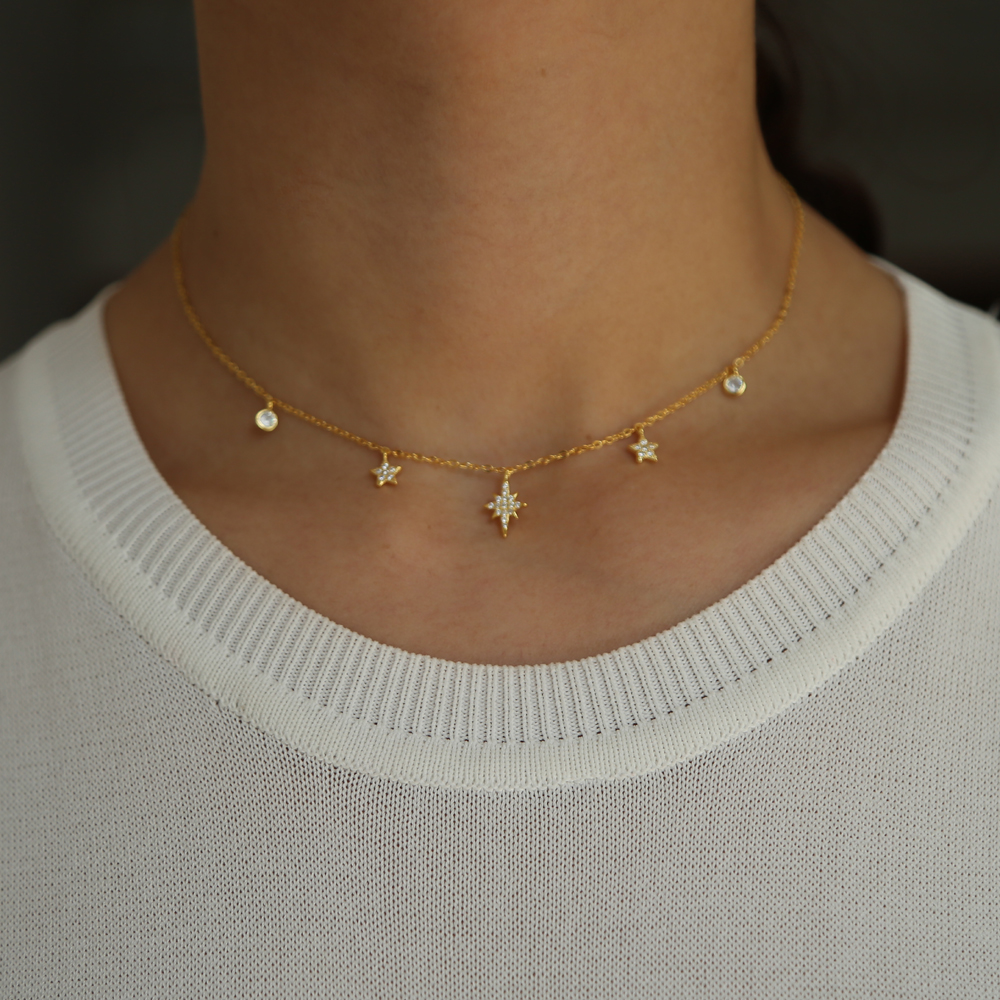 delicate sunburst star charm necklace delicate 925 sterling silver thin choker chain christmas gift star pendant elegance style