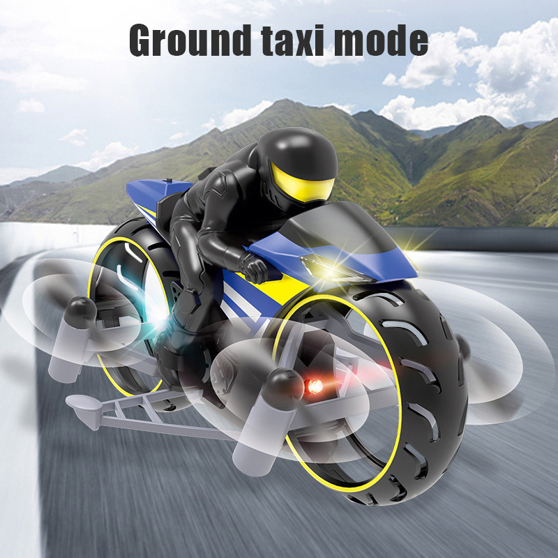 RC Motorcycle Amphibious Remote Control Four-Axle UAV One Key Roll Light Aircraft Model M09