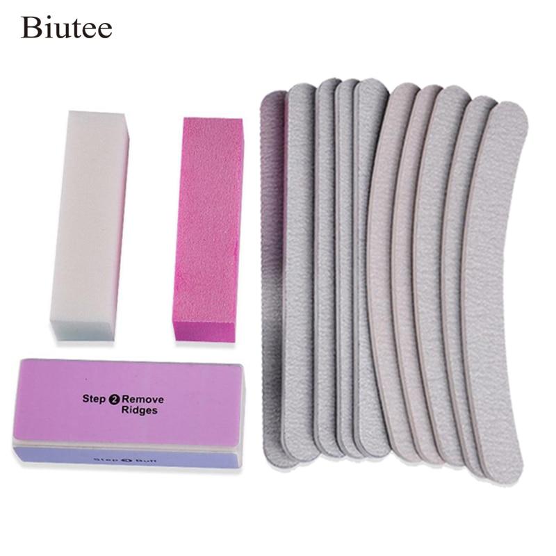 Biutee 13PCS/set Sanding Files Buffer Block Nail Art Salon Manicure Pedicure Tools Pro Nail Tools