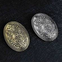 Fashion Vintage Antique Silver Bronze Viking Brooch Pin Wolf Graphic Pattern Norse Amulet Badge Brooches(China)