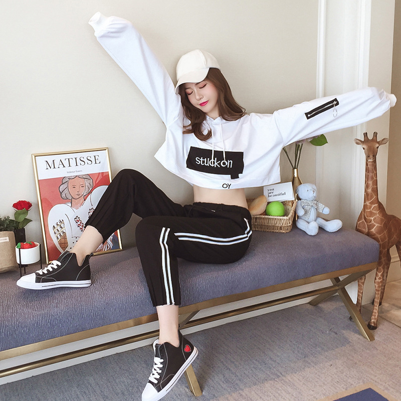 Autumn 2020 New Style Harajuku Fashion Hooded Sports Hoodie Suit Female Short Korean-style Casual Pants Students Two-Piece Set