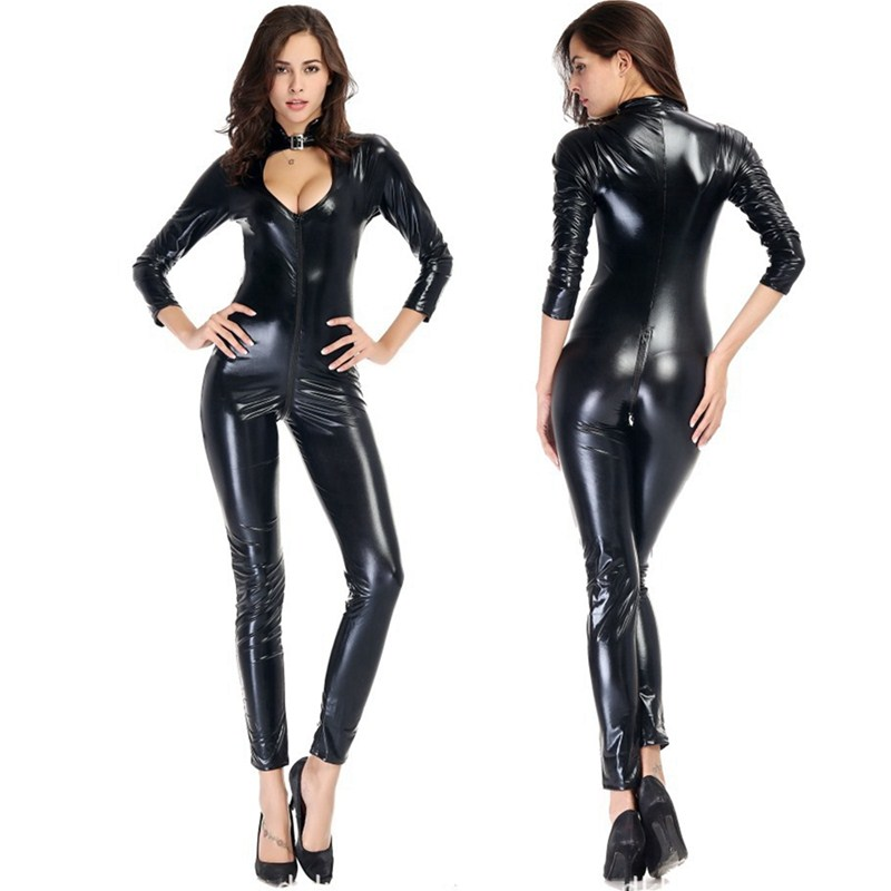 Women Sexy PVC Latex Pole Dance Bodycon Bodysuit Jumpsuit Lady Plus Size Sexy Faux Leather Front Zipper Open Crotch Catsuit
