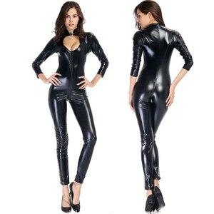 Mulheres sexy pvc látex pólo dança bodycon bodysuit macacão senhora plus size sexy frente zíper de couro falso aberto virilha catsuit