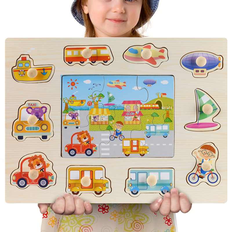 Montessori Wooden Puzzles Hand Grab Boards Toys Tangram Jigsaw Baby Educational Toys Cartoon Vehicle Animals Fruits 3D Puzzles 32
