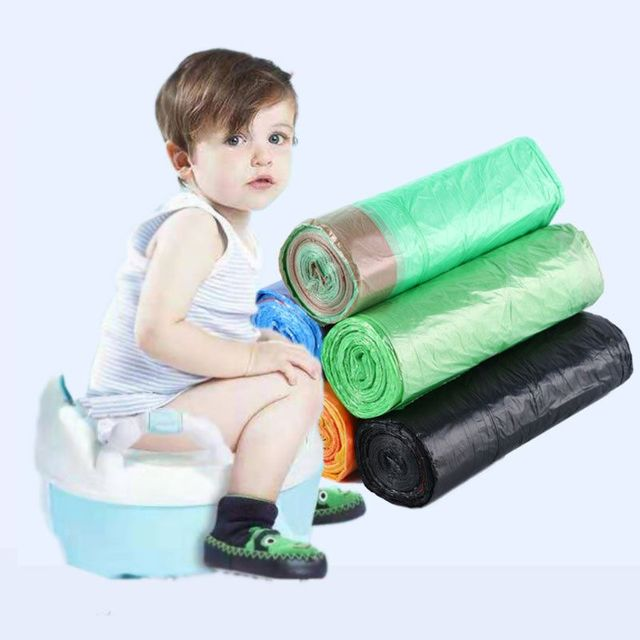 1 Roll/20Pcs Hot Universal Potty Training Toilet Seat Bin Bags Travel Potty Liners Disposable with Drawstring Baby Toilet Access | Happy Baby Mama