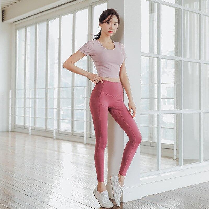 Cross-border net yarn splicing fitness gym suit pants suit women take yoga bra lining