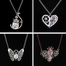 Steampunk coração em forma de engrenagem mecânica pingente colar vintage inseto abelha borboleta coruja clavícula corrente vintage jóias