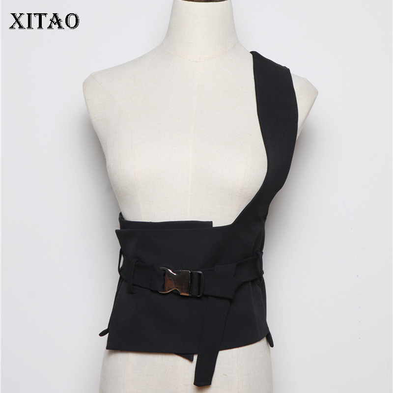 XITAO Black Strapless Cummerbunds 2019 Women A Versatile Design Irregular Small Fresh Minority Sheath Casual Cummerbunds XJ2395